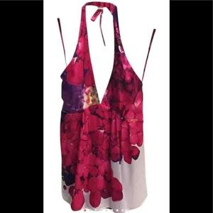 Roberto Cavalli Pink Floral Silk Halter Top